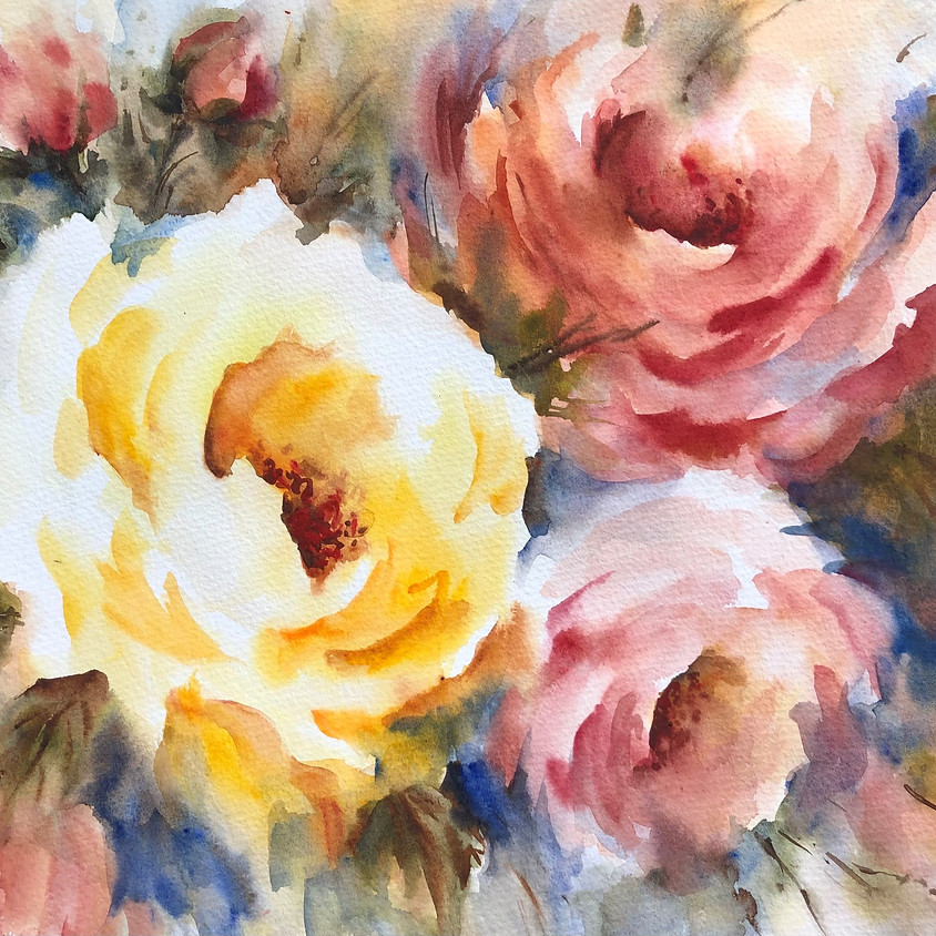 Radiant Roses - Watercolour Painting