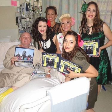 Visiting veterans at the VA Hospital with Pin-Ups for Vets.