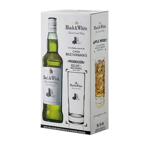 Whisky Black & White 700ml + Vaso