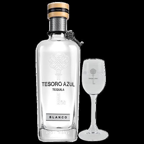 Tequila Tesoro Azul Blanco 750ml + Copa