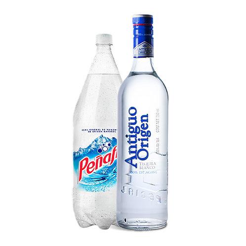 Tequila Antiguo Origen Blanco 750ml + Agua Mineral 2 L