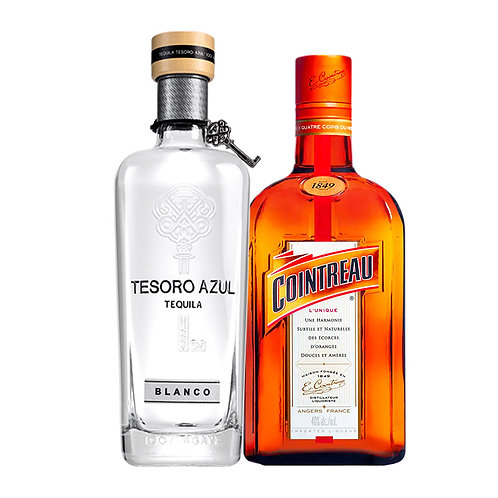 Tequila Tesoro Azul Blanco 750 ml +Licor Cointreau 750 ml