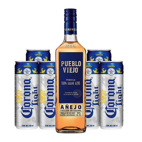 Tequila Pueblo Viejo Añejo 700 ml + 6 Corona Light 355 ml