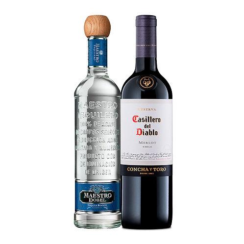 Tequila Maestro Dobel Blanco 750 ml + Casillero Del Diablo Merlot 750 ml