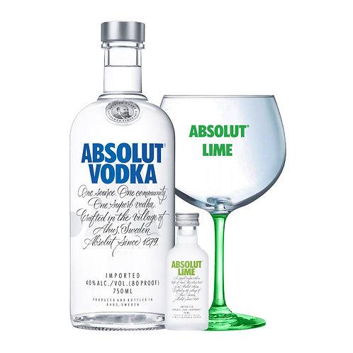 Absolut Vodka 750ml + Absolut Lime 50ml + Copa