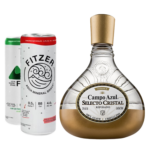 Tequila Campo Azul Selecto Cristal Reposado 750ml + 2 Latas Fitzer de Regalo