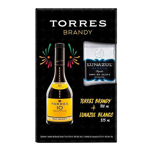 Brandy Torres 10 700ml + Lunazul Blanco 375ml