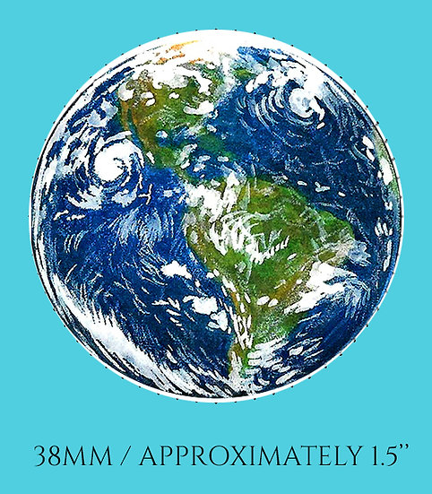 Earth 38mm (1.5'') Handmade Glass Dome Magnet