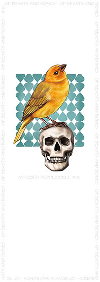 Finch and Skull Bookmark