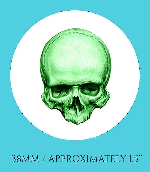 Skull in Green 38mm (1.5'') Handmade Glass Dome Magnet