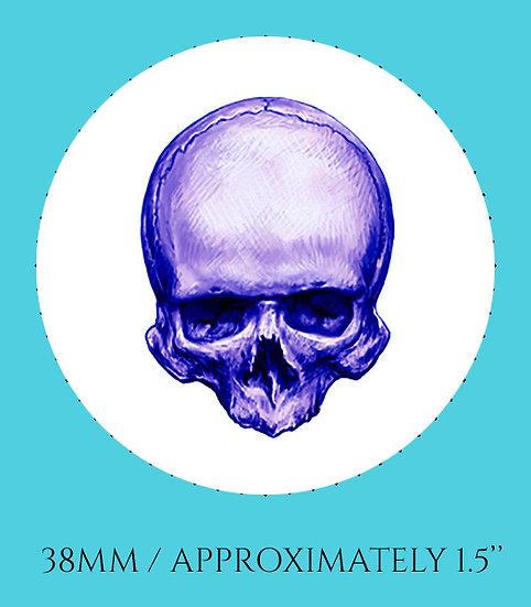 Skull in Purple 38mm (1.5'') Handmade Glass Dome Magnet