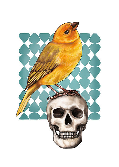 Finch and Skull Vinyl Sticker