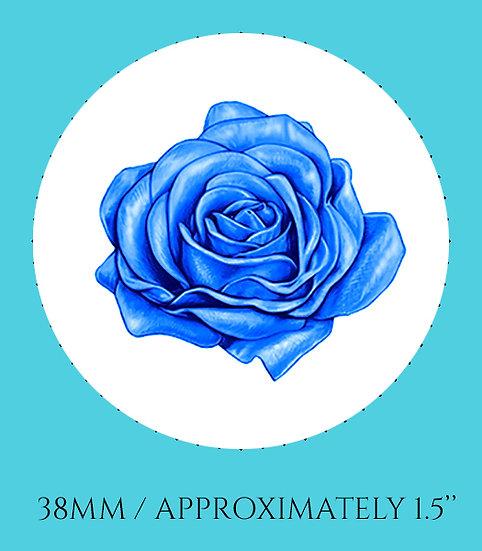 Blue Rose 38mm (1.5'') Handmade Glass Dome Magnet