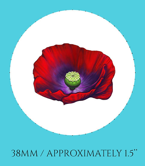 Poppy 38mm (1.5'') Handmade Glass Dome Magnet