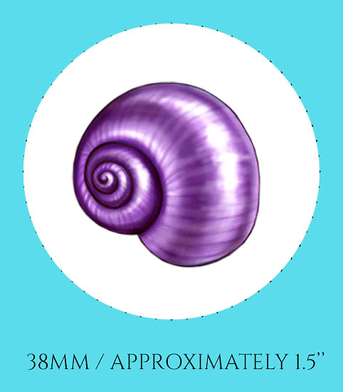 Purple Shell 38mm (1.5'') Handmade Glass Dome Magnet