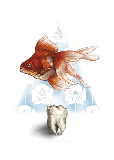 Goldfish and Tooth Vinyl Sticker