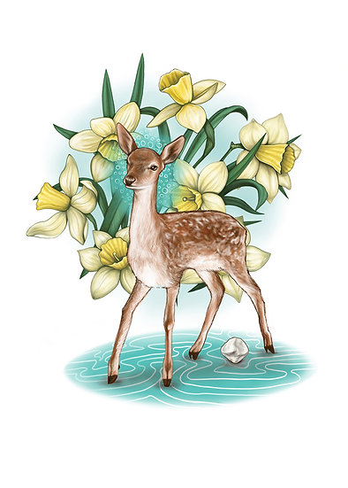 Fawn with Daffodils and Patella Vinyl Stickers