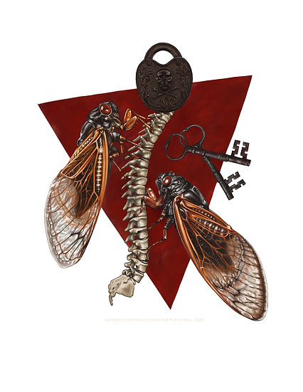 Cicadas with Padlock, Keys & Spine Vinyl Sticker