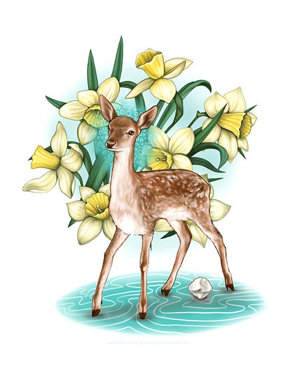 Fawn with Daffodils and Patella