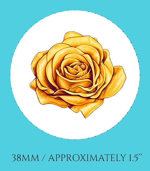 Yellow Rose 38mm (1.5'') Handmade Glass Dome Magnet