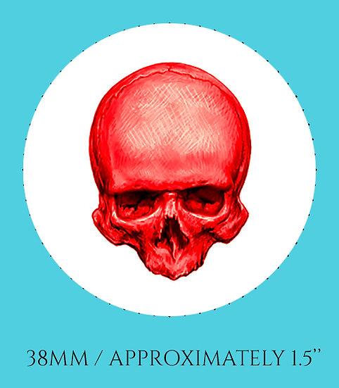Skull in Red 38mm (1.5'') Handmade Glass Dome Magnet