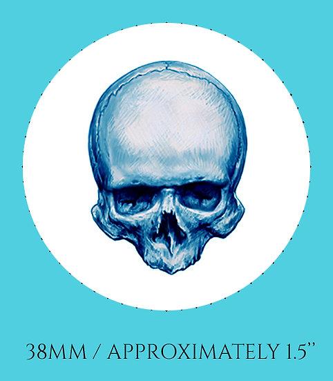 Skull in Blue 38mm (1.5'') Handmade Glass Dome Magnet