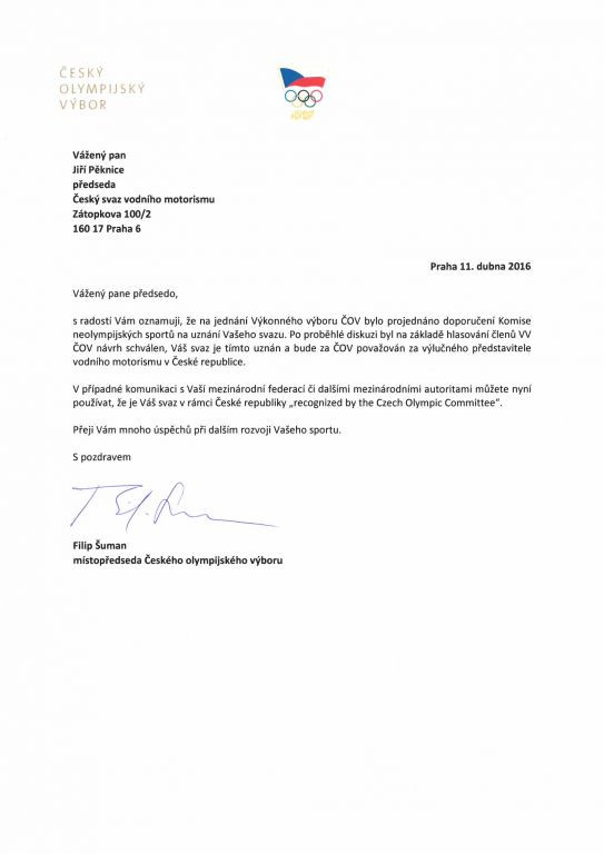 Uznání svazu Českým olympijským výborem