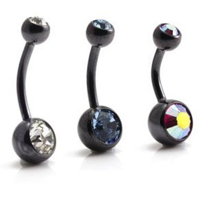 PVD Black Ti Double Jewelled Navel Bar