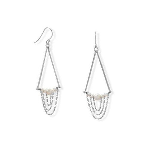 Cultured Freshwater Pearl Drop Earring