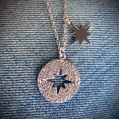 """16"""" Sterling Silver Cut Out Starburst Necklace"""
