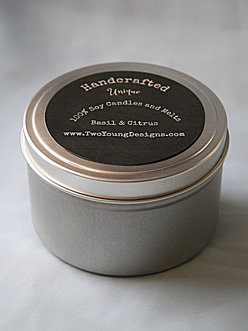 Basil and Citrus Tin Container Candle