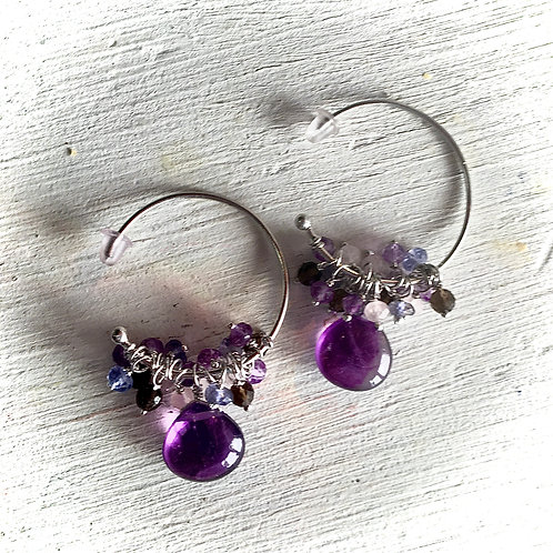 Sterling Silver Multi Stone Earring