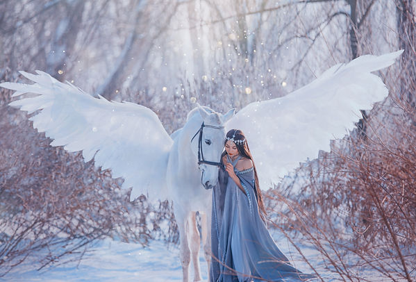 fantasy beautiful woman goddess stroking mythical Pegasus, white magic wings. Brunette Lon