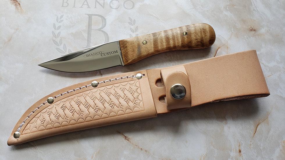 "Bianco Custom 6"" Curly Maple Hunting Knife W/ Bleached Leather Sheath"
