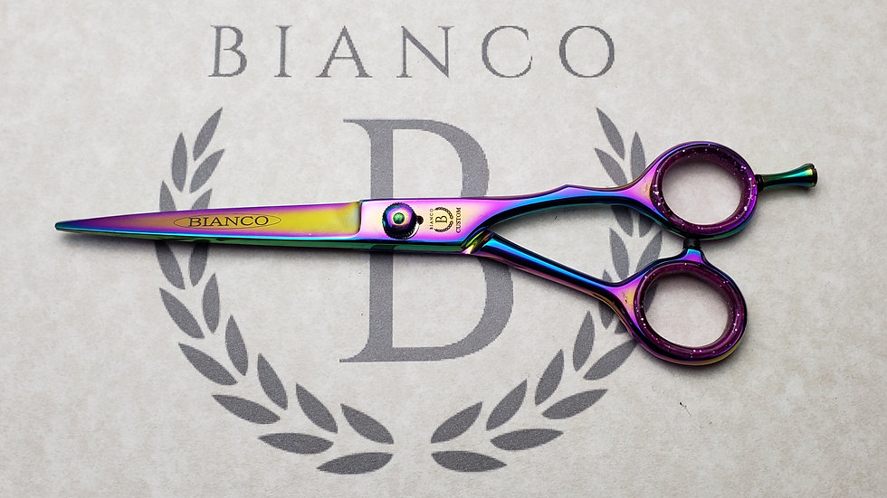 "Bianco Custom 7"" Tempered Steel Coated Hairdressing Shear"