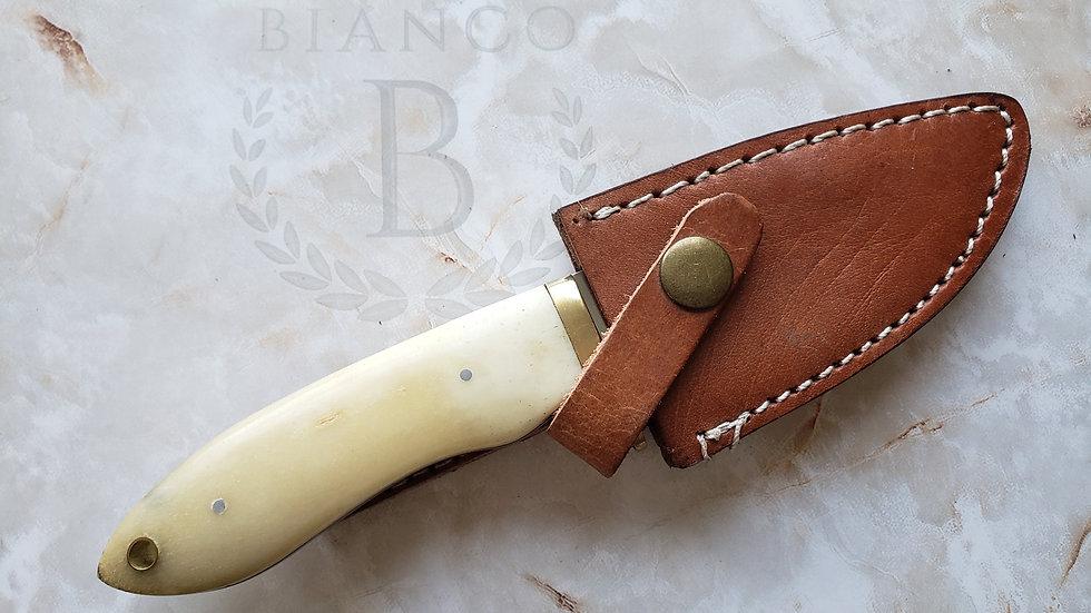 "Bianco Custom 7.5"" Bone Handle Hunting Knife W/ Charm/Keychain Hole"