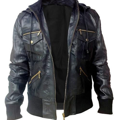 Mens - Black Hooded Leather Jacket