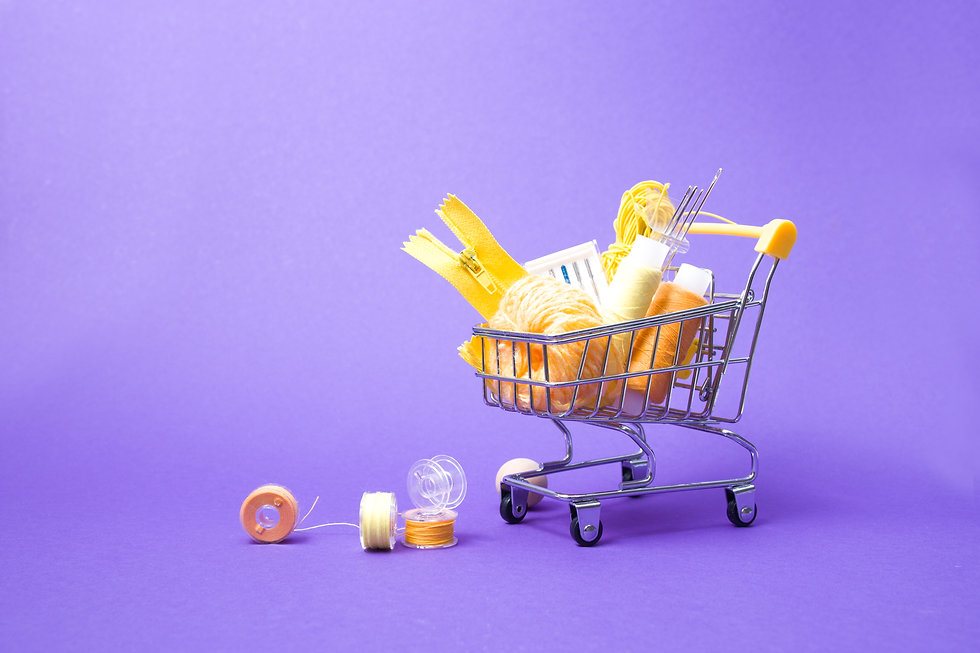 shopping trolley with various accessorie