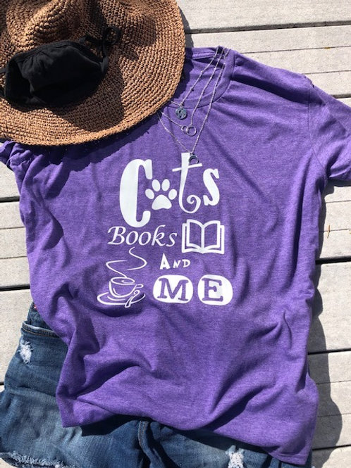 Women's Tee - Cats Books And Me