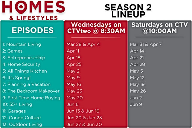 Season 2 Homes and Lifestyles Schedule