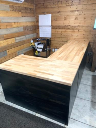 L-shaped Desk w_butcher block top