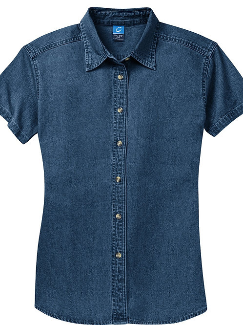 SP11 Port &  Company Short Sleeve Value Denim Shirt
