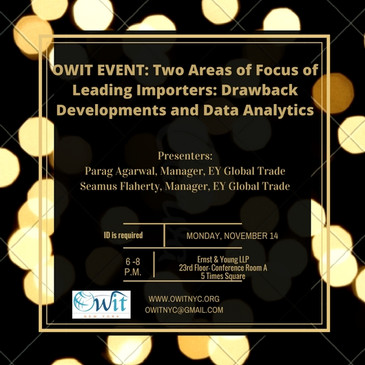 OWIT-NY & EY: Drawback Developments and Data Analytics