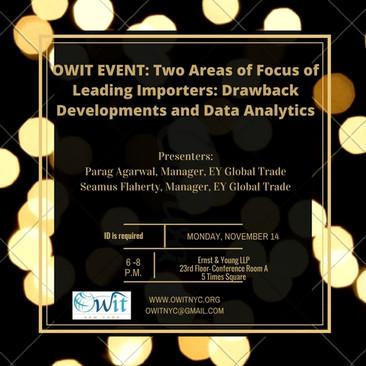 OWIT-NY & EY: Drawback Developments and Data Analytics