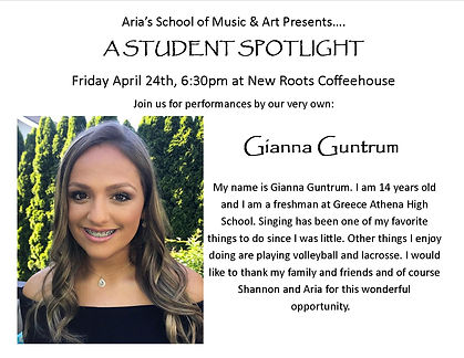 Student Spotlight Flier Gianna Guntrum .