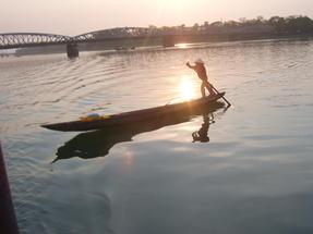 Alkonyat a Mekong-deltában.
