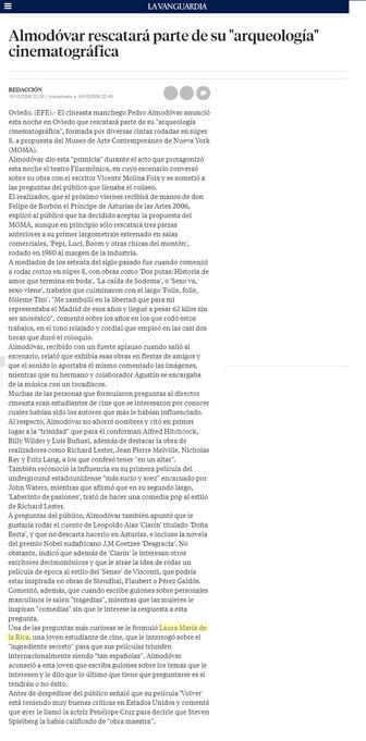 Premio Príncipe de Asturias de las Artes Pedro Amodóvar Oviedo Coloquio Laura de la Rica