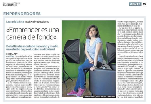Intuitiva Producciones. Laura de la Rica. El Comercio. Creadora Audiovisual