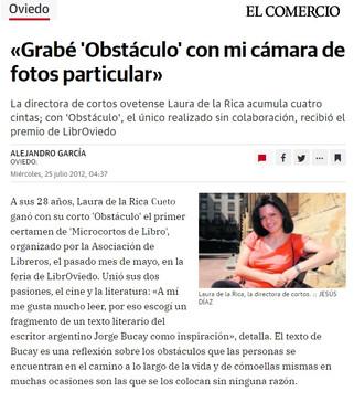 """Laura de la Rica diario El Comercio. Corto """"Obstáculos"""""""