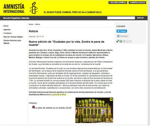Amnistía internacional. Videomapping Ciudades por la Vida. Laura de la Rica